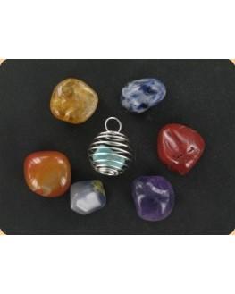 Pendentif - 7 pierres interchangeables - Rééquilibrer chakras